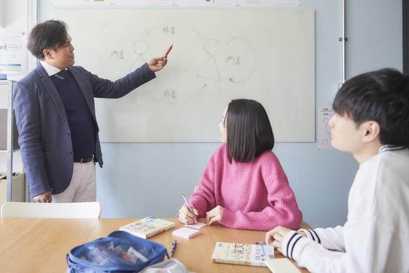 ホワイトボードの前で男性の教師が授業をしていて、二人の生徒が聞いている